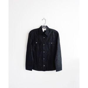 Max Mara Black Crinkled Silk Button Down Top sz S